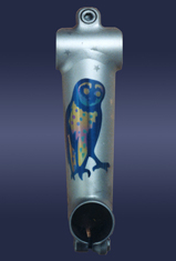owl anodized titanium custom art by leni fried